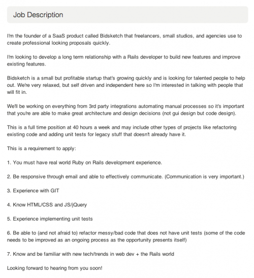 Bidsketch: Job Description on oDesk